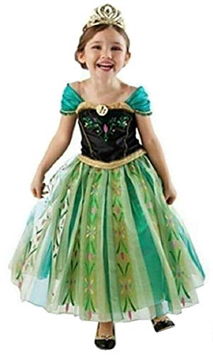WNQY Princess Anna Fancy Dress Costume Little Girls Halloween Cosplay Outfit Kids Party Dress Up (Green,100/2-3Y) ()