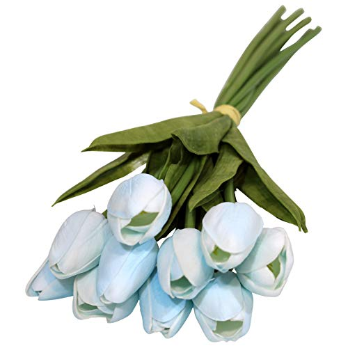 Ezflowery 10 Heads Artificial Tulips Flowers Real Touch Arrangement Bouquet for Home Room Office Party Wedding Decoration, Excellent Gift Idea for Mothers Day (10, Soft Blue)]()