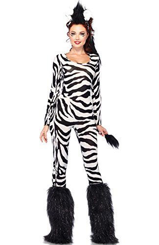 Mememall Fashion Wild Zebra Animal Women Printed Catsuit Adult Costume (Wild Zebra Adult Womens Costume)
