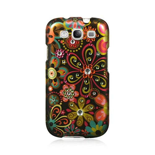 Insten Flowers Rubberized Hard Snap-in Case Cover with Diamond Compatible Samsung Galaxy S3 GT-i9300, Brown