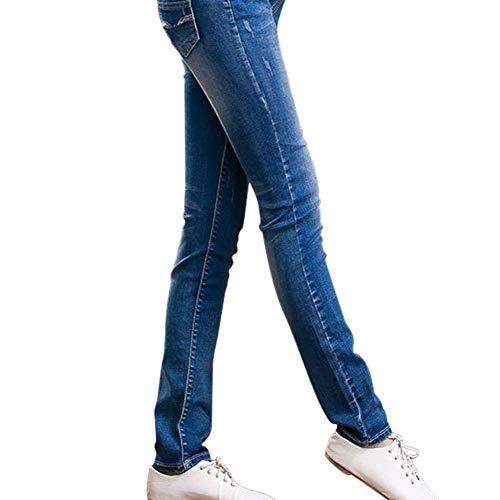 Del Suaves Mujer Casual Fit Elásticos Modernas Vientre Vaqueros De Haidean Maternidad Banda Con Para Pantalones Dunkelblau Slim Ajustados XCw7q7t