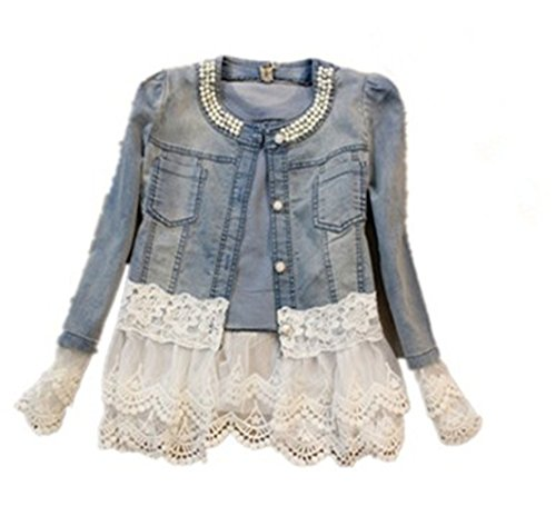 baihai Summer Women Denim Jacket Slim Casual Splice Coat Lace Stitching Coats