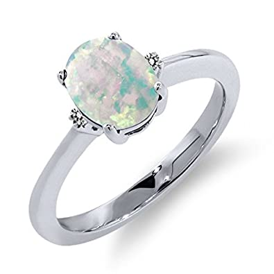 1.08 Ct Oval White Simulated Opal White Diamond 925 Sterling Silver Ring
