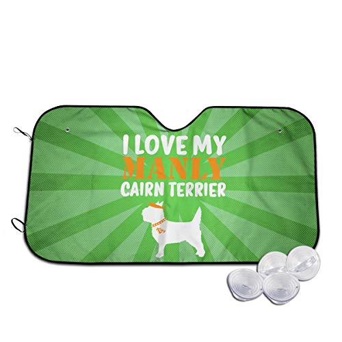 A10U-ZYZ Windshield Sun Shade I Love My Manly Cairn Terrier - Cute Dog Funny Visor Car Sunshade Universal 51.2x27.5 Inch,55x30 Inch for Cars SUV Truck,Block The Sun,Protects Interior Cool (Eyewear Sunshades)