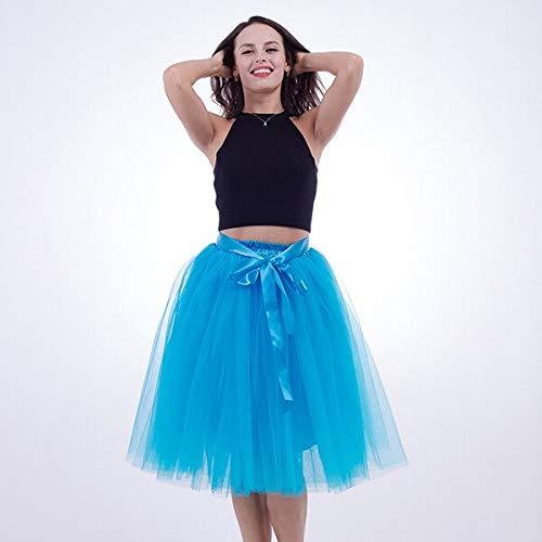 bluee WHFDBZQ 5 Layer 65Cm Knee Length Tulle Skirt Elegant Pleated Tutu Skirts Womens Vintage Lolita Petticoat