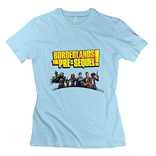 StaBe Girls Borderlands The PreSequel Logo T-Shirt 100% Cotton Sport XL SkyBlue -