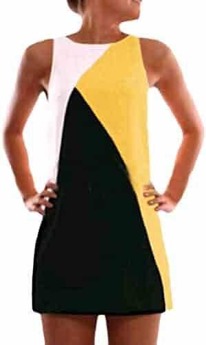 114ae3841e MLG Women's Fitted Stitch Hit Color Stylish Sleeveless Mini Sun Dresses