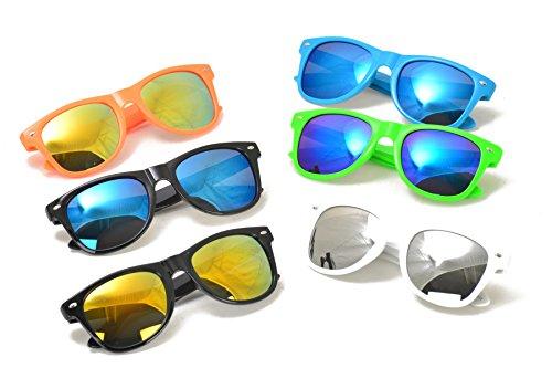 Unisex Neon Wayfarer Reflective Lens Sunglasses in Assorted Color (One Dozen - 12 Pieces)