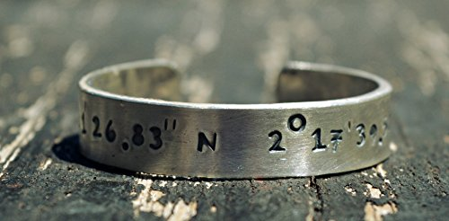 2mm THICK CUSTOM COORDINATES bracelet,mens bracelet,massive,sterling silver bracelet,fathers day,latitude,longitude,location,custom engraved by siledu