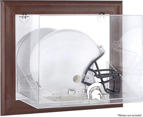 Michigan State Spartans Brown Framed Wall Mountable Helmet Display Case by Sports Memorabilia