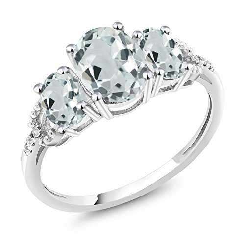 - Gem Stone King 10K White Gold Diamond Accent 3-Stone Engagement Ring set with 2.01 Ct Oval Sky Blue Aquamarine (Size 9)