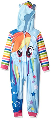 Trolls My Little Pony Little Girls' Hooded Blanket Sleeper, Rainbow Blue, 6
