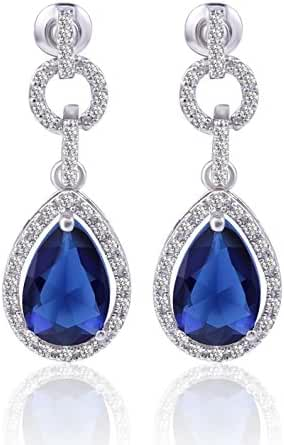 GULICX Silver Plated Base Pear Circle Flawless Cubic Zirconia Blue Dangle Drop Earrings Sapphire Color
