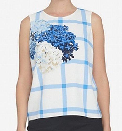 CeCe Blue Women's Medium Plaid Floral Printed Blouse White M