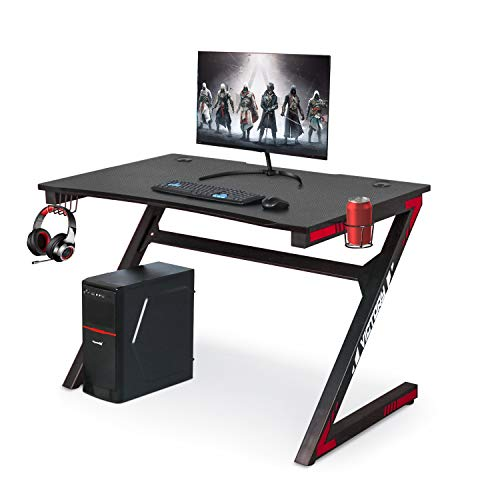 Gaming Computer Desk with Large Carbon Fiber Surface Cup Holder & Headphone Hook for Home or Office, Gaming PC Desk Table (Black & red)