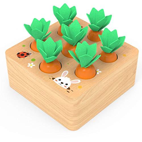 Sunarrive Wooden Montessori Toys – Carrot Shape Sorter – Educational Learning Game – Fine Motor Skills Toy – Easter…