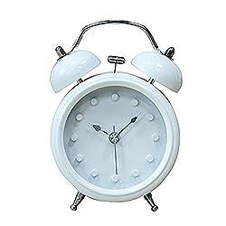 Usany 3'' Vintage bedside Twin Bell Alarm Clock Silent Quartz Analog Retro Vintage Alarm Clocks Desktop Clock Home Decoration
