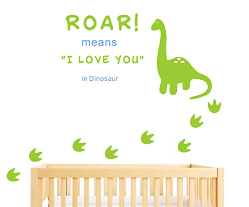 (Dinosaur Wall Decal, Roar Means I Love You in Dinosaur with Footprints, Vinyl Stickers for Baby Boys, Kids Bedroom Wall Decor, Nursery Decoration, Quote Wall Decals(A22) (Green, Bule))