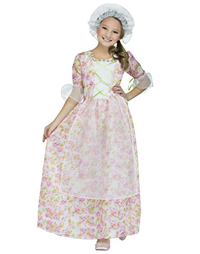 Pink Ladies Kids Costumes (Colonial Lady Kids Costume, Medium, Pink / White / Green)