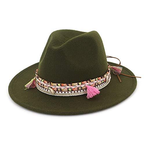 Jelord Womens Wool Felt Dent Fedora Trilby Panama Hat Belt Buckle Band