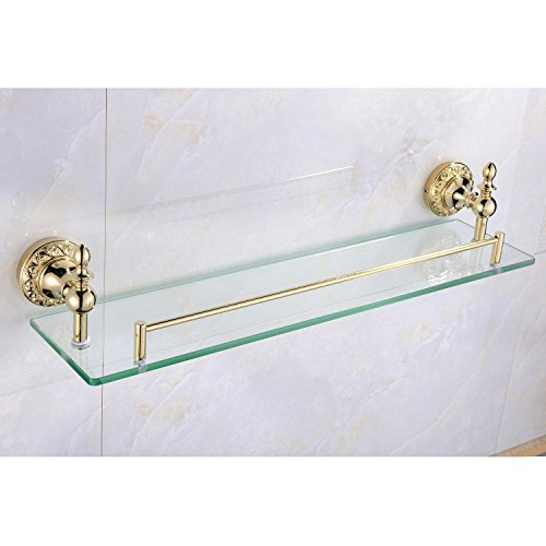 Sprinkle Wall Mount Bathroom Bath Shower Rack Antique Inspired Ti-PVD Finish Solid Brass Material Glass Shelf Lavatory Accessories Tools and Home Improvement Bthroom Towel Holder Shampoo Basket Bars, Bathroom Accessories