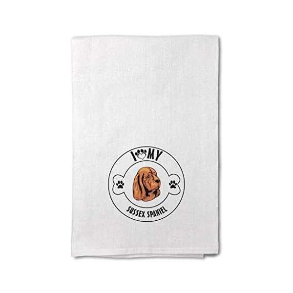 Style In Print Custom Decor Flour Kitchen Towels I Love Paw My Sussex Spaniel Dog Pets Dogs Cleaning Supplies Dish Towels Design Only 1