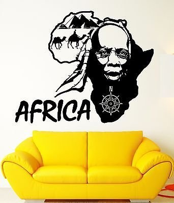 Wall Sticker Vinyl Decal Africa Travel African Country Map Decor VS1827