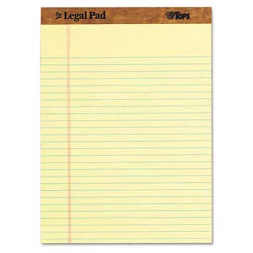 (TOPS The Legal Pad Ruled Perforated Pads, 8 1/2 x 11 3/4, Canary, 50 Sheets, Dozen)