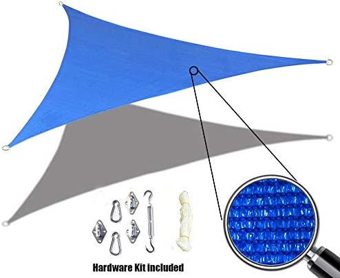 Alion Home Custom Sized Sun Shade Sail with 6 Stainless Steel Hardware Kit – Right Triangle 9 x 9 x 12.5 , Blue