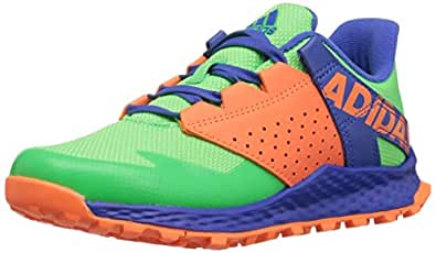adidas Unisex Vigor Bounce Running Shoe, Shock Lime Blue/hi-res Orange, 1 M US Little Kid