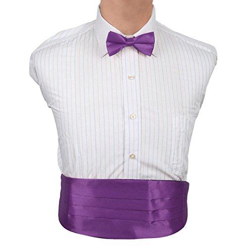Cummerbund Mens Purple - Dan Smith DIC1E01O Dark Violet Solid Microfiber Fratty Cummerbund Set For Boyfriends Cummerbund Matching Bow Tie
