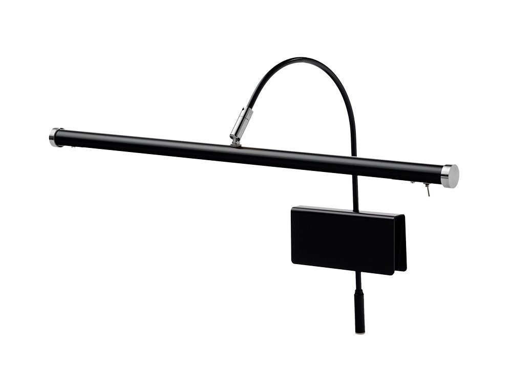 Cocoweb 19'' Grand Piano Lamp with Integrated LED Black with Satin Nickel Accents - GPLED19SND