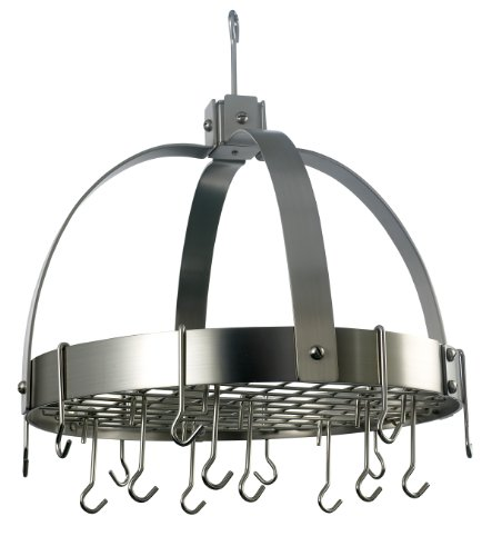 Satin Steel Hanging Pot Rack (Old Dutch Dome Pot Rack with 16 Hooks, Satin Nickel, 20