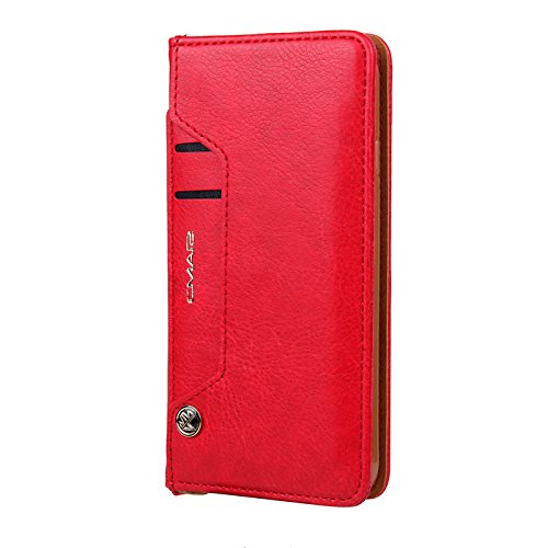 TechCode Book Cover iPhone X, Dual Layer Design Premium PU Leather Flip Case Vintage Fashion Smart Stand Cover Lightweight Wallet Sleeve Credit Card Slots Apple iPhone X 5.8 inch(Red)