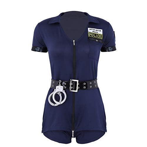 moily Women's 4Pcs Police Officer Uniform Set Halloween Fancy Dress Cosplay Costumes with Handcuffs Belt Hat Navy Blue Large ()