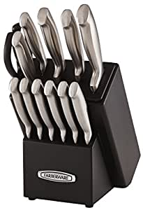 Farberware Self-Sharpening 13-Piece Knife Block Set with EdgeKeeper Technology, Black