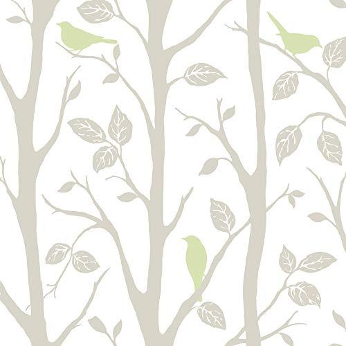 NuWallpaper NU1655 Sitting in a Tree Wallpaper, Grey/Green
