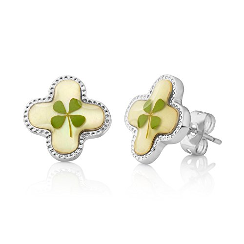 4 Leaf Clover Post Earrings - Stainless Steel Real Four (4) Leaf Leaves Clover Lucky Symbol Jewelry 12 mm Post Stud Earrings