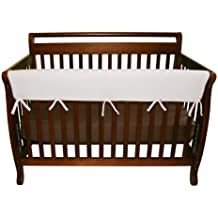 """Trend Lab Fleece CribWrap Rail Cover for Long Rail, White, Wide for Crib Rails Measuring up to 18"""" Around!"""