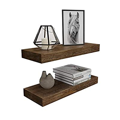BAMFOX Floating Wall Shelf Set of 2,Natural Bamboo Wall Decor Storage Shelf,Wall Mount Display Rack for Bedroom, Living Room, Bathroom, Kitchen, Office and More - ECO-FRIENDLY MATERIAL: Floating shelf is made entirely of bamboo with a smooth surface. Bamboo is one of the most environmentally friendly materials in the world. It can be grown into industrial bamboo within five years. It is renewable and sturdy. VERSATILE & FUNCTIONAL: wall shelf can be placed in the bedroom or bathroom to place beauty/hair products, placed under the mirror at the entrance, or installed in a long corridor to show family photos, showcase trophies and honors by the fireplace. Place spices or condiments in the kitchen FREE UP SPACE: Maximizes space while taking up zero square feet - Reduces clutter and highlights décor in compact spaces - Provides unique shelving solutions to any style home, studio apartment, and more - wall-shelves, living-room-furniture, living-room - 413Ku0RE31L. SS400  -