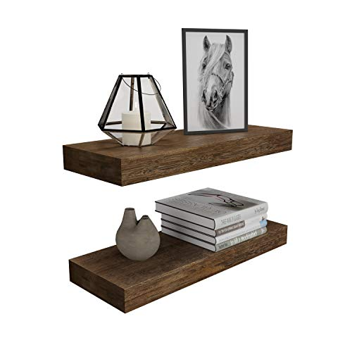 BAMFOX Floating Wall Shelf Set of 2,Natural Bamboo Wall Decor Storage Shelf,Wall Mount Display Rack for Bedroom, Living Room, Bathroom, Kitchen, Office and More