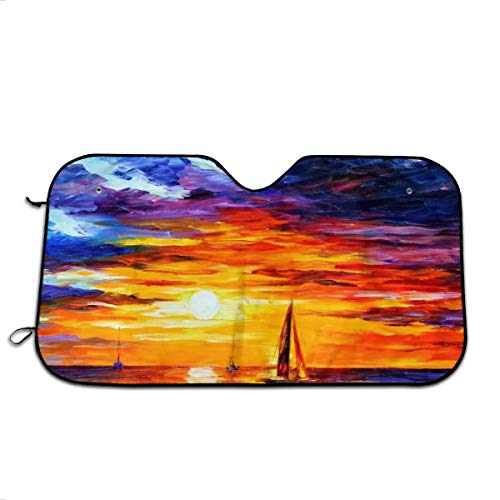 (Chimabianti Sunset Over The Sea Car Windshield Sun Shade Car Window Shade Front Windshield Side Window Car Sun Shades for General Models Such As Cars and SUVs Keep Your Vehicle Cool )