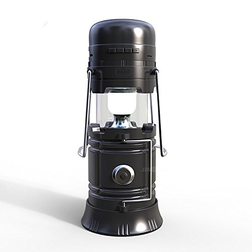 413KutLRt8L - LED Camping lantern Portable Outdoor Flashlight Bluetooth Speaker FM Radio Call Reminder Solar Charging 2200Mah Power Bank Camping Gear for Camping Hunting Hurricane Emergencies Support TF Card / FM