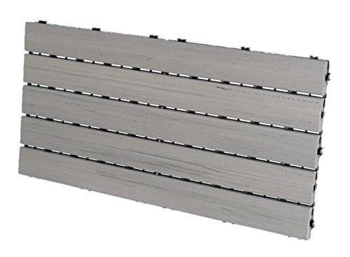 "EON 12""x24"" Deck and Balcony Tiles Pack of 5, Grey - 10 sq.ft./Pack. 100% Engineered Polymer."