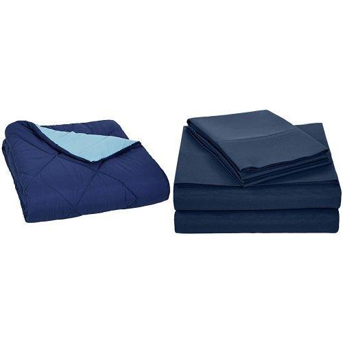 AmazonBasics Navy Blue Comforter  and Navy Blue Sheet Set