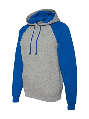 - Jerzees Nublend Adult Colorblock Hooded Pullover (Oxford_Royal) (M)