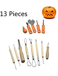 Halloween Pumpkin Carving Tool Kit 13 Pcs, Ultimate Sculpting Tools Pottery Art Set Sturdy Stainless Steel Pumpkin Tools Knifes Melon Fruit Kitchen Carving Cutter for Halloween Decoration