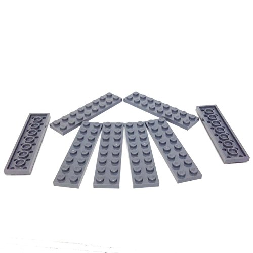 Lego Parts: Plate 2 x 8 (Pack of 8 - DBGray) (Scorpion 22 Replacement)