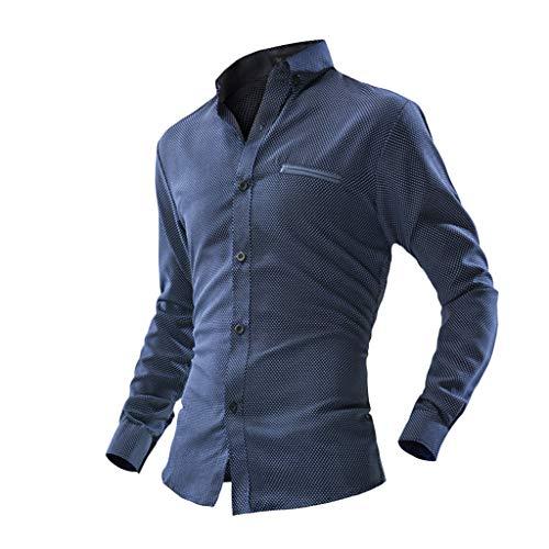 iCJJL Men's Casual Polka Dot Chambray Pocket Dress Shirt Long Sleeve Button Down Basic Business Shirt Slim-fit -