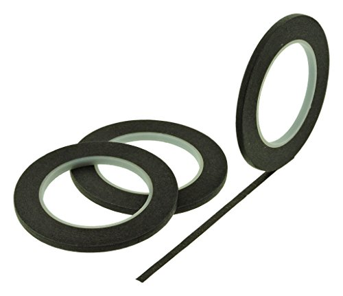 3pk 1/4 x 60 yd Black Painters Tape PROFESSIONAL Grade Fine Masking Pin Stripping Edge Trim Multi Surface Easy Removal (6MM .25 in)